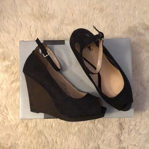 Black Suede Peep Toe Wedges